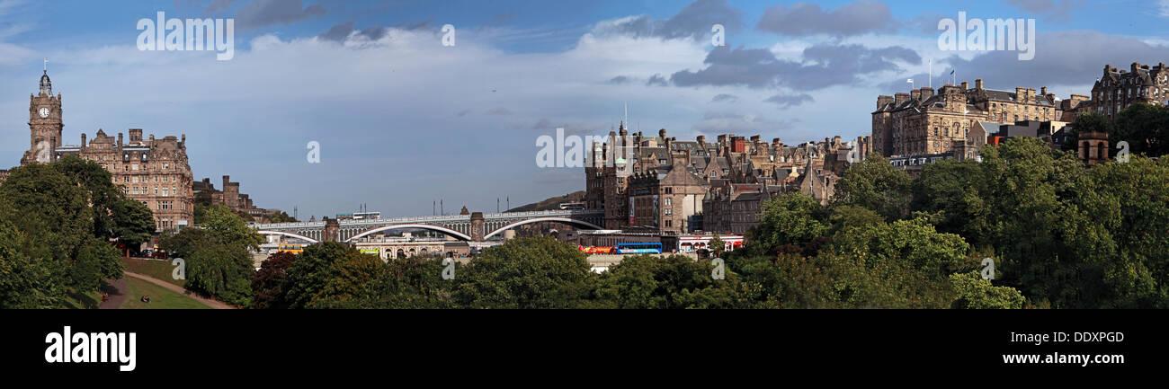 Edinburgh panorama, Scotland, UK towards bridges - Stock Image