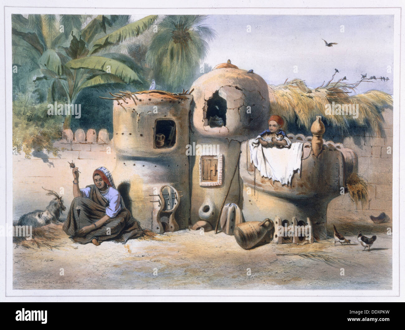 Peasant dwellings in Upper Egypt, 1848. Artist: Eugene Leroux - Stock Image