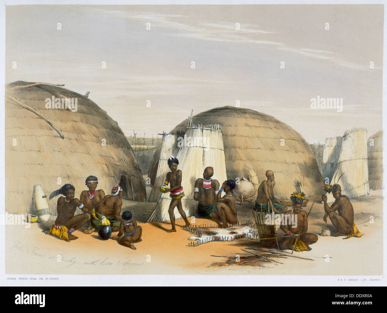 Zulu kraal at Umlazi with huts and screens, 1849. Artist: George French Angas - Stock Image