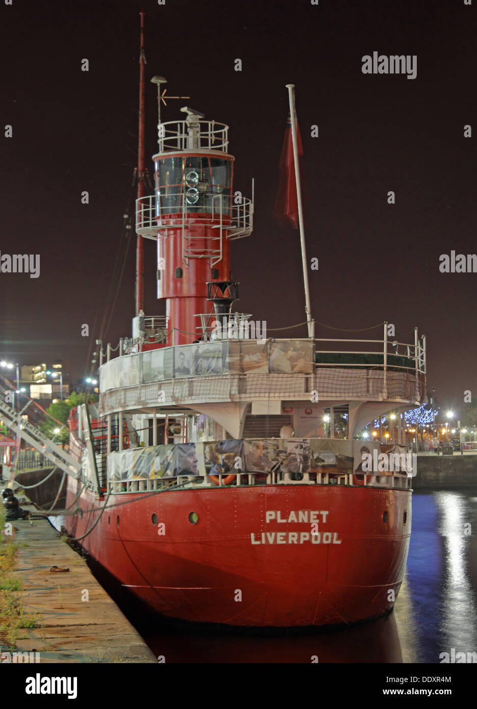 The Planet or LV23 Light Vessel, red lightship,Liverpool docks, Mersey - Stock Image