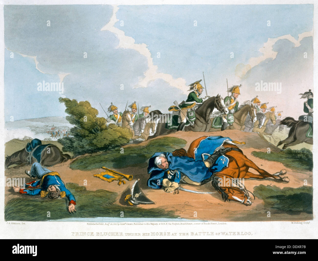 'Prince Blucher under his Horse at the Battle of Waterloo', 1815. Artist: Matthew Dubourg - Stock Image