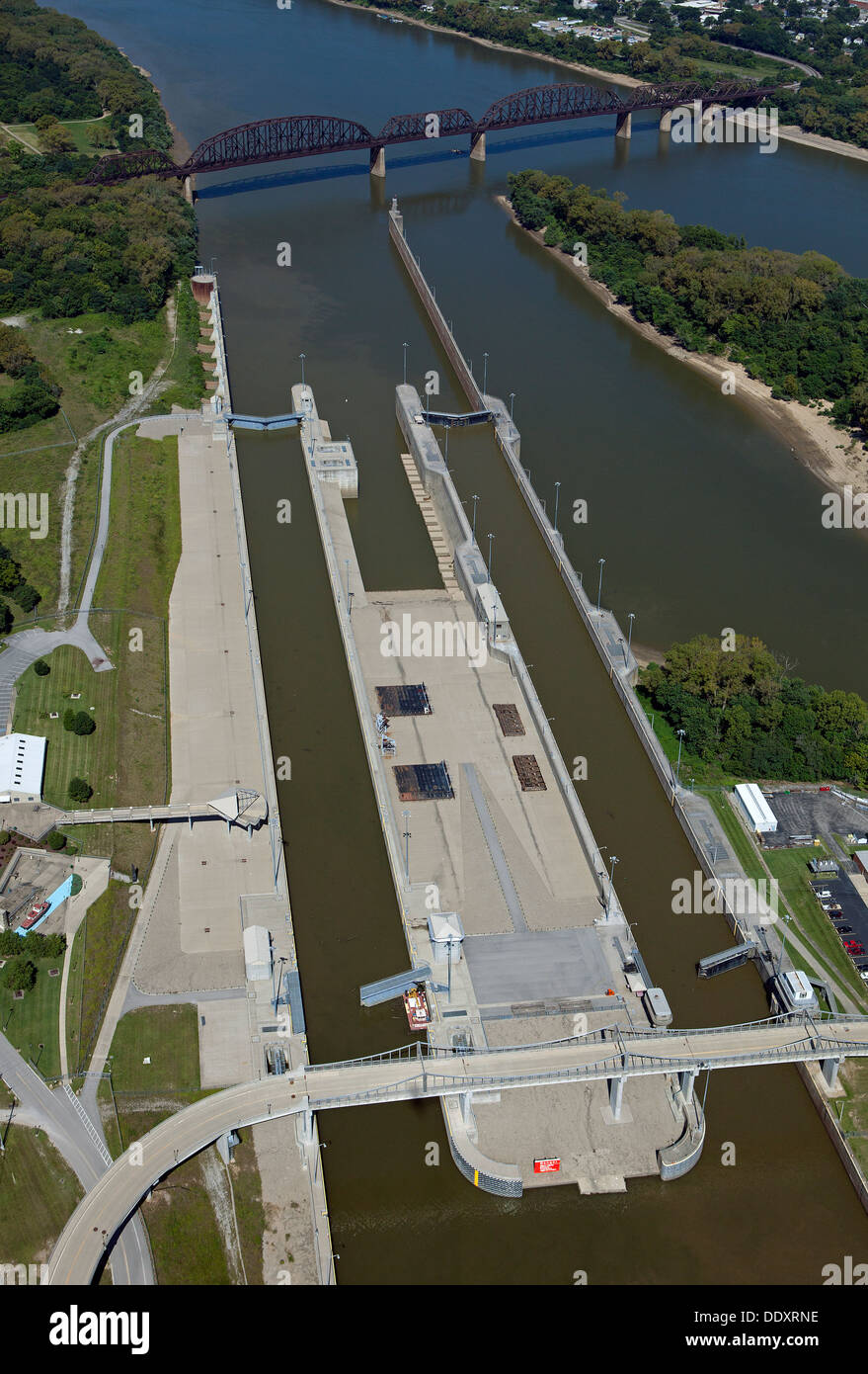 aerial photograph McAlpine Locks and Dam, Ohio River at Louisville, Kentucky - Stock Image