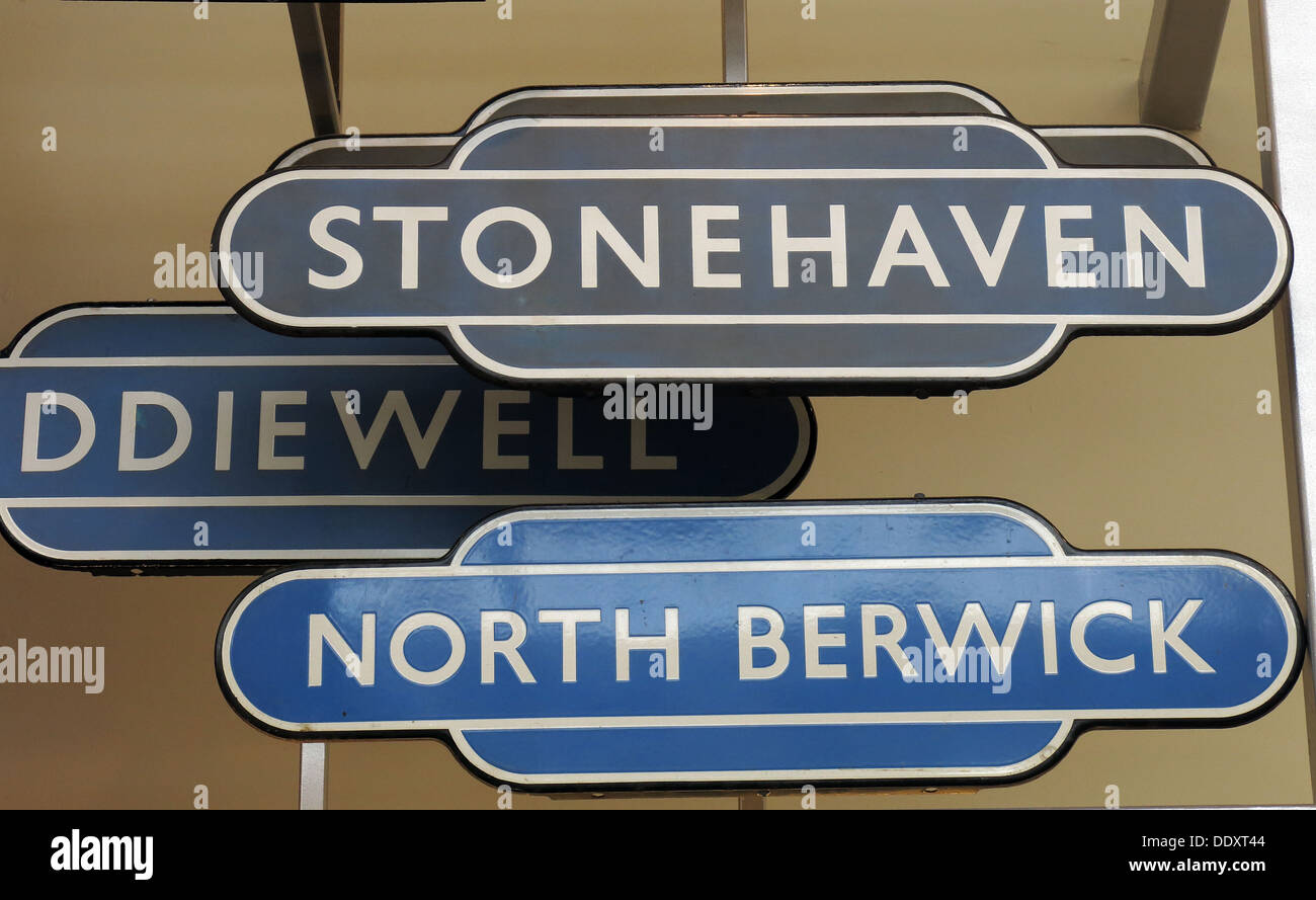 Old Scots railway station signs in blue and grey North Berwick Stonehaven - Stock Image