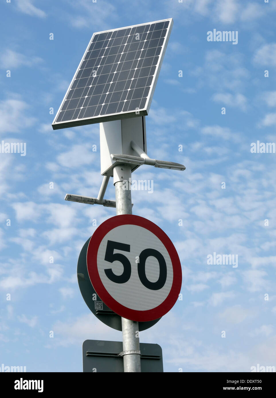 Solar powered street furniture road speed 50 mph sign , Lymm, Warrington, Cheshire, England, UK - Stock Image