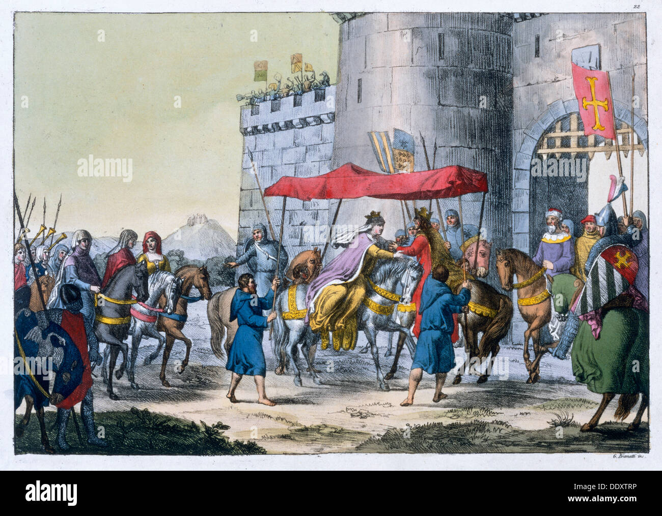 The wedding of Edward I and Eleanor of Castile, 1254 (19th century) Artist: Unknown Stock Photo