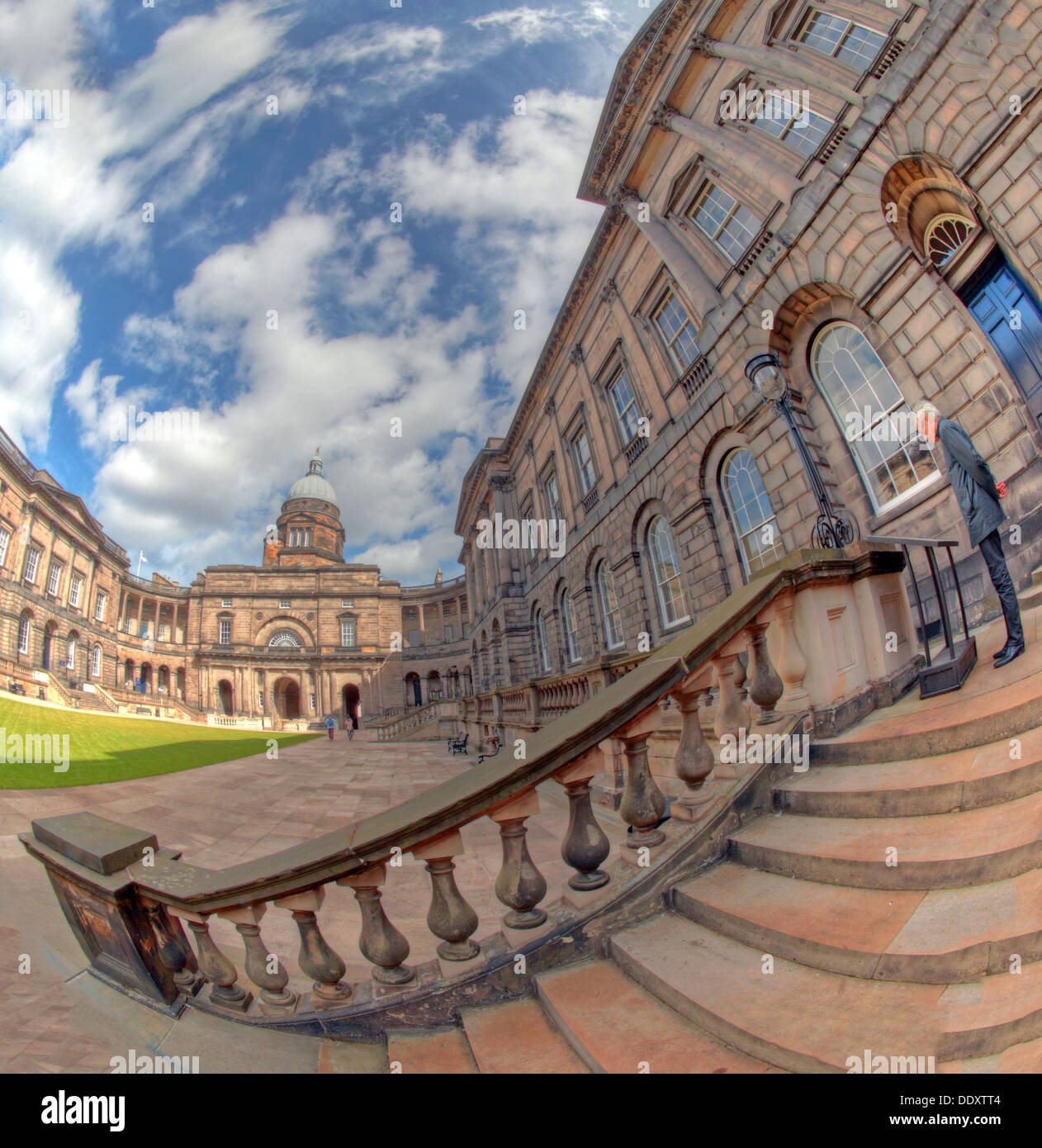Wide fisheye view of Edinburgh University South College Lothian Scotland UK wide view - Stock Image