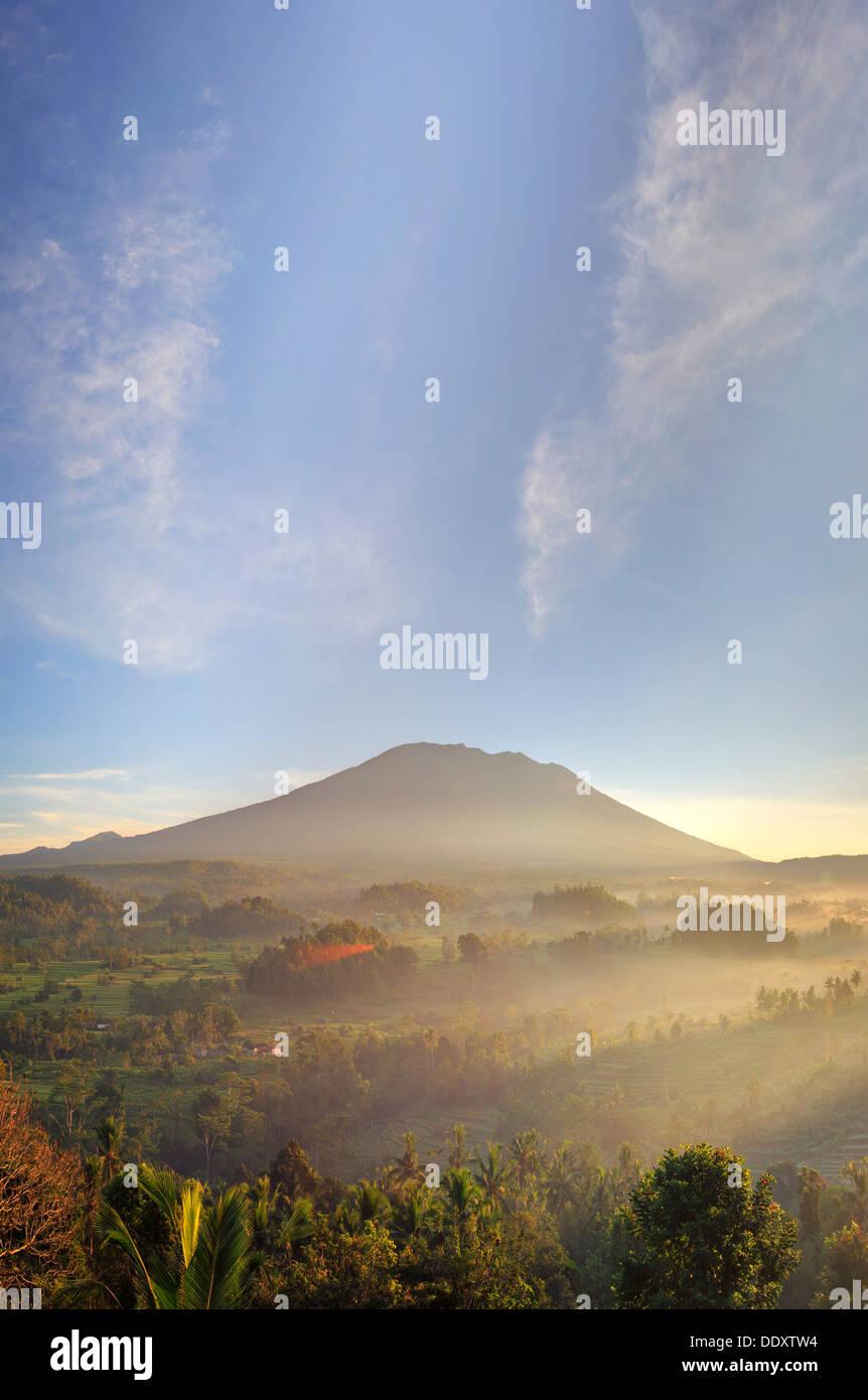 Indonesia, Bali, Sidemen, Sidemen Valley and Gunung Agung Volcano - Stock Image