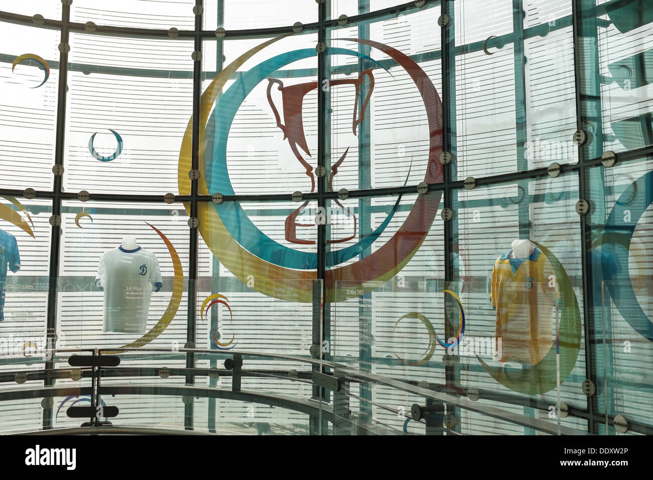 Decorative glass windows in  National Football Museum at Urbis in Manchester city centre, UK - Stock Image