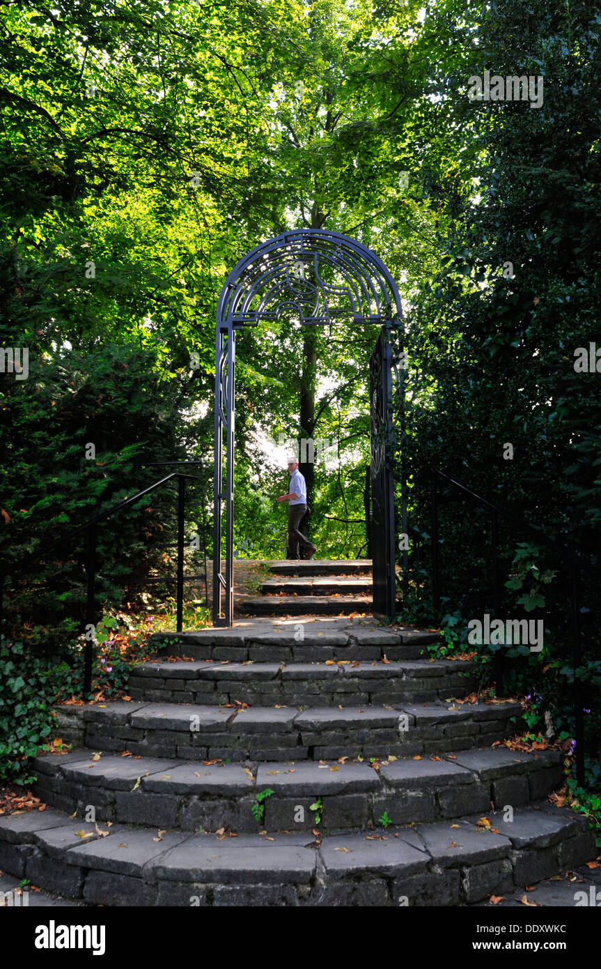 A view of the stairs and the gate, fellows Garden, Clare College, Cambridge, UK - Stock Image