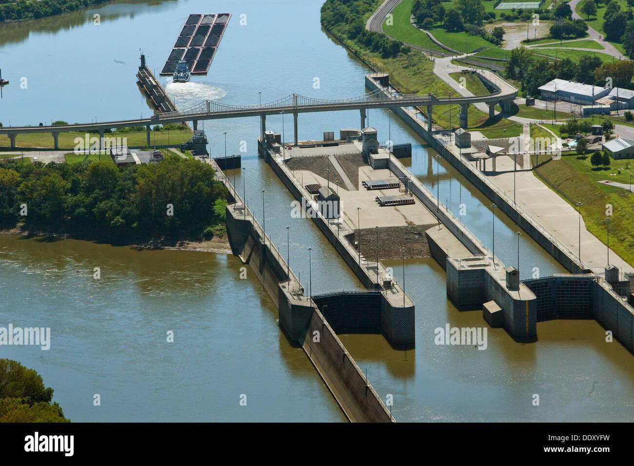 aerial photograph McAlpine Locks and Dam, Ohio River at Louisville, Kentucky - Stock Image