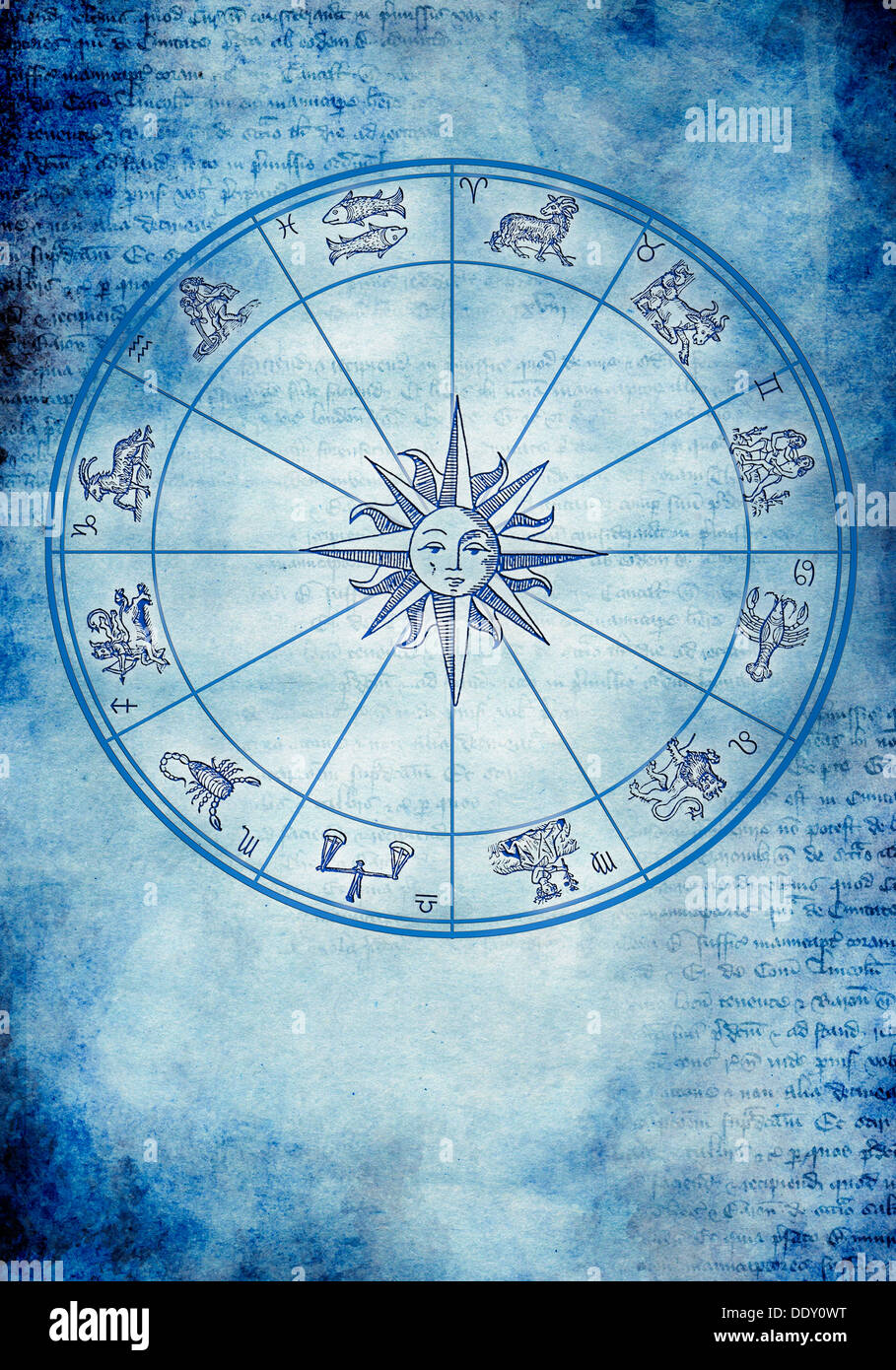 zodiac signs antique - Stock Image
