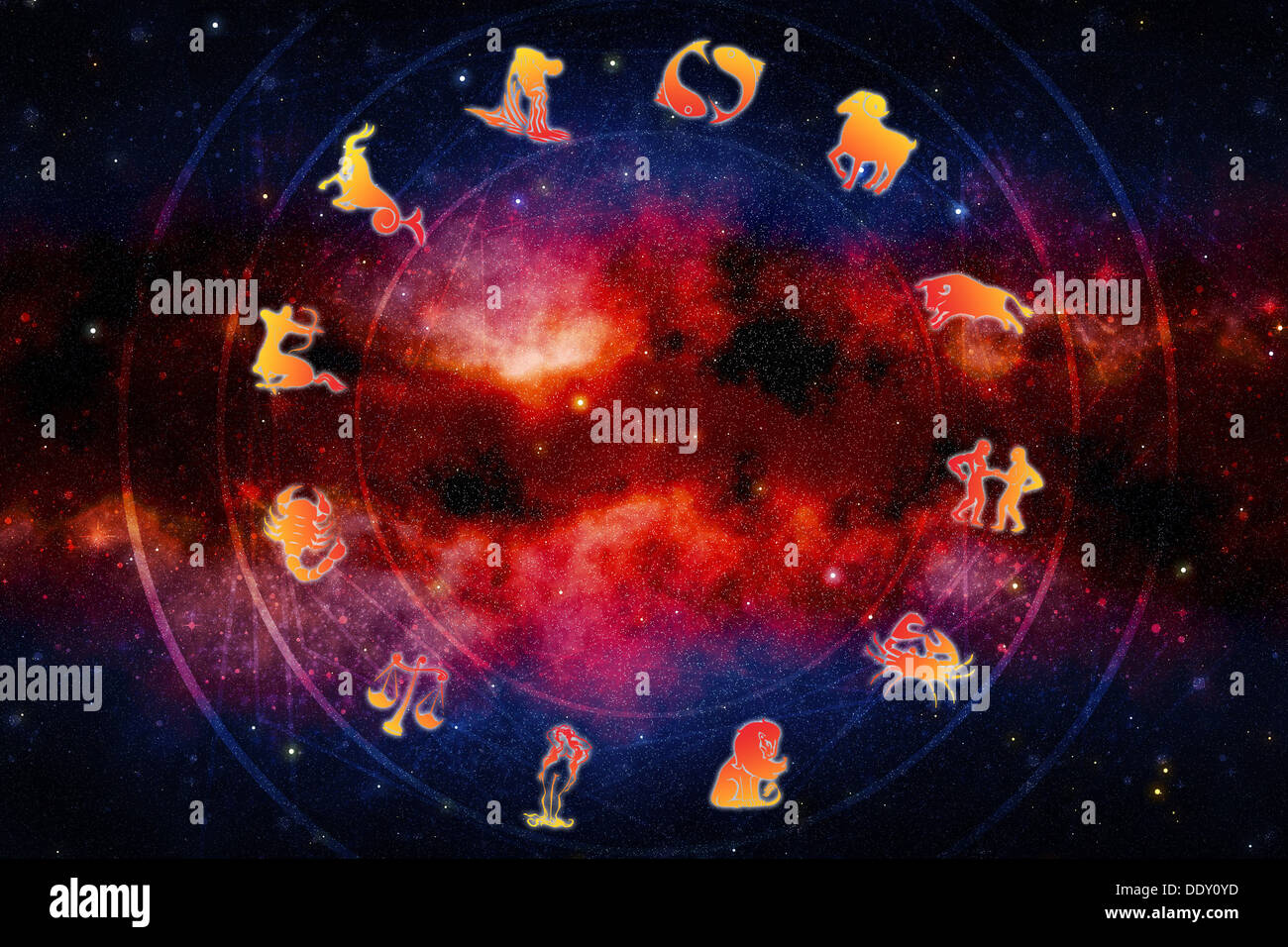 all zodiac signs, astrology and horoscope concept - Stock Image