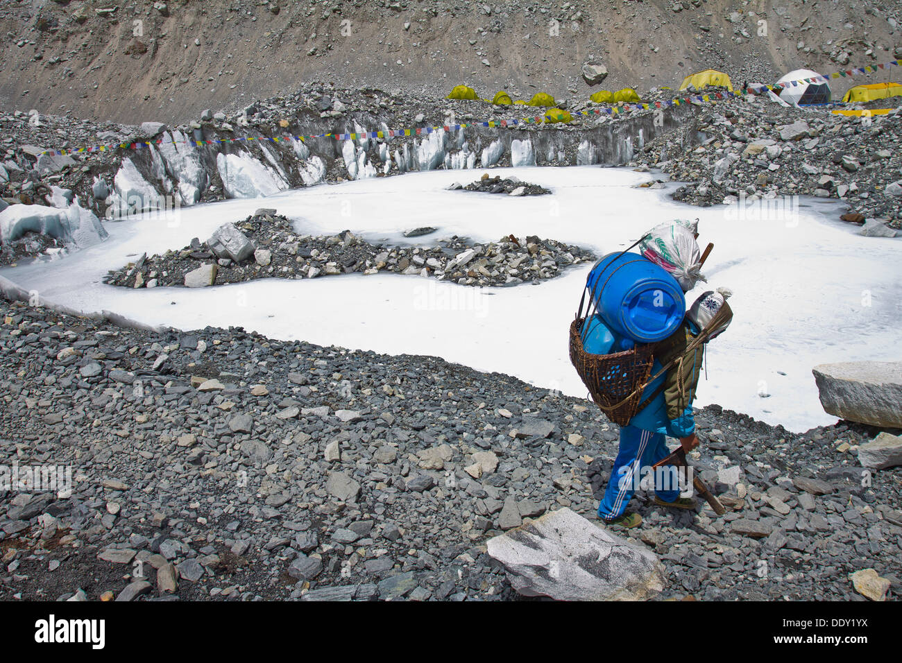A porter at Mount Everest base camp in Nepal, Asia - Stock Image