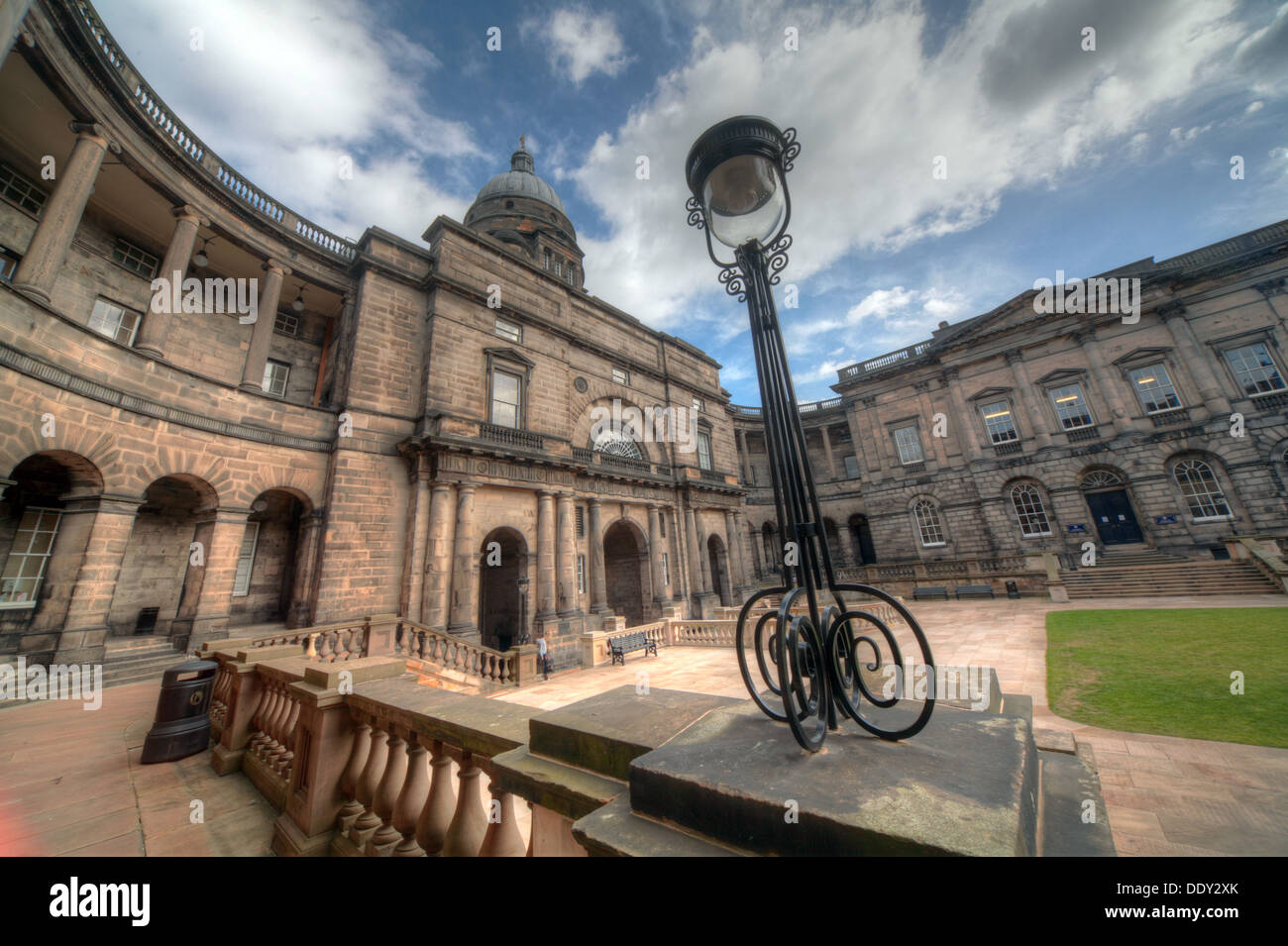 Edinburgh University South College Lothian Scotland UK wide view with antique lamp Stock Photo