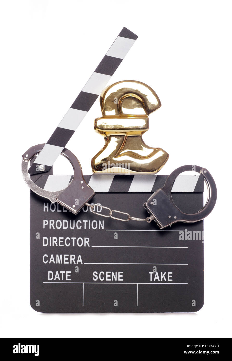 Piracy costing money in the film industry studio cutout - Stock Image