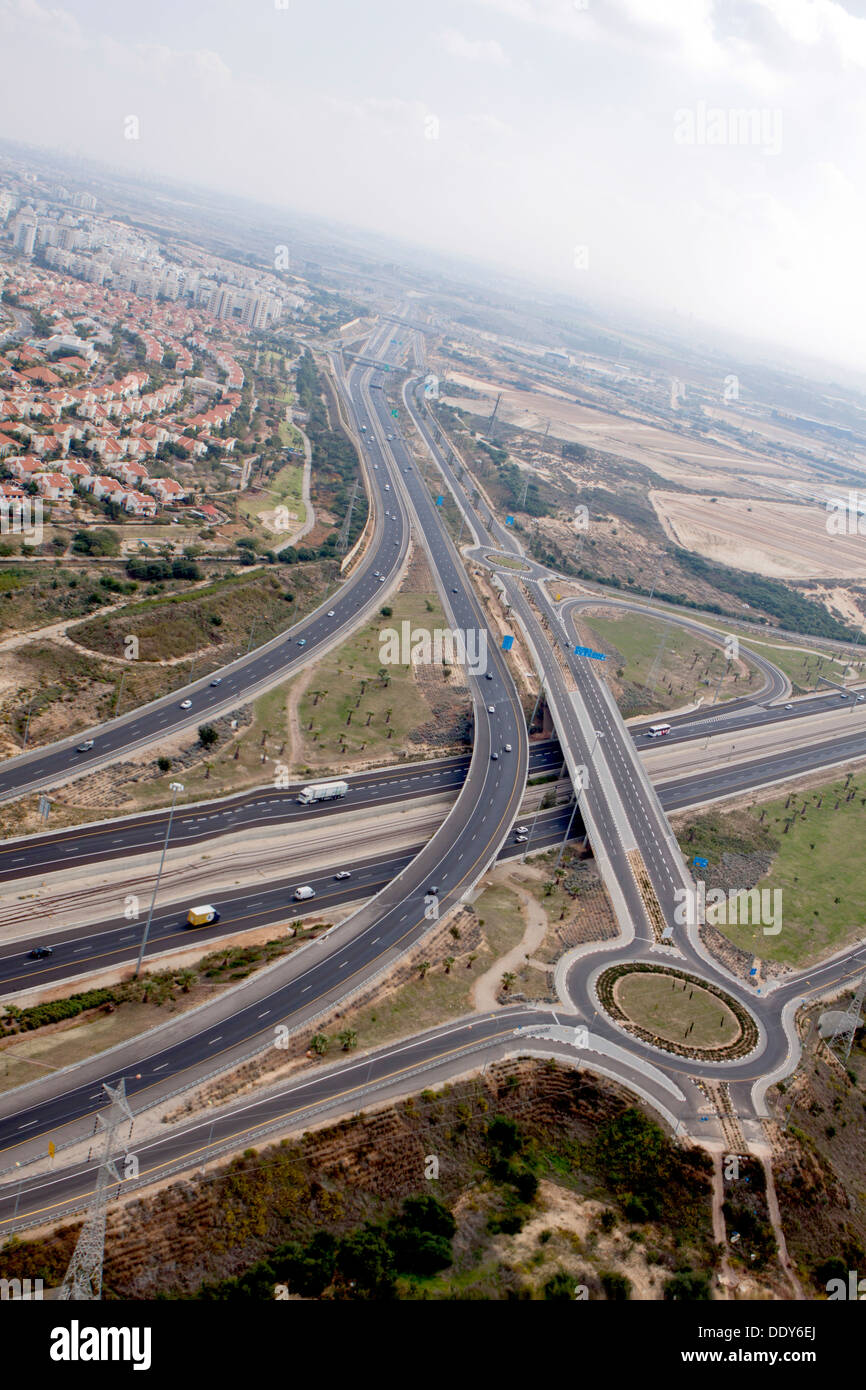 Aerial Photography of the Negev Desert landscape, Israel Kama Intersection - Stock Image