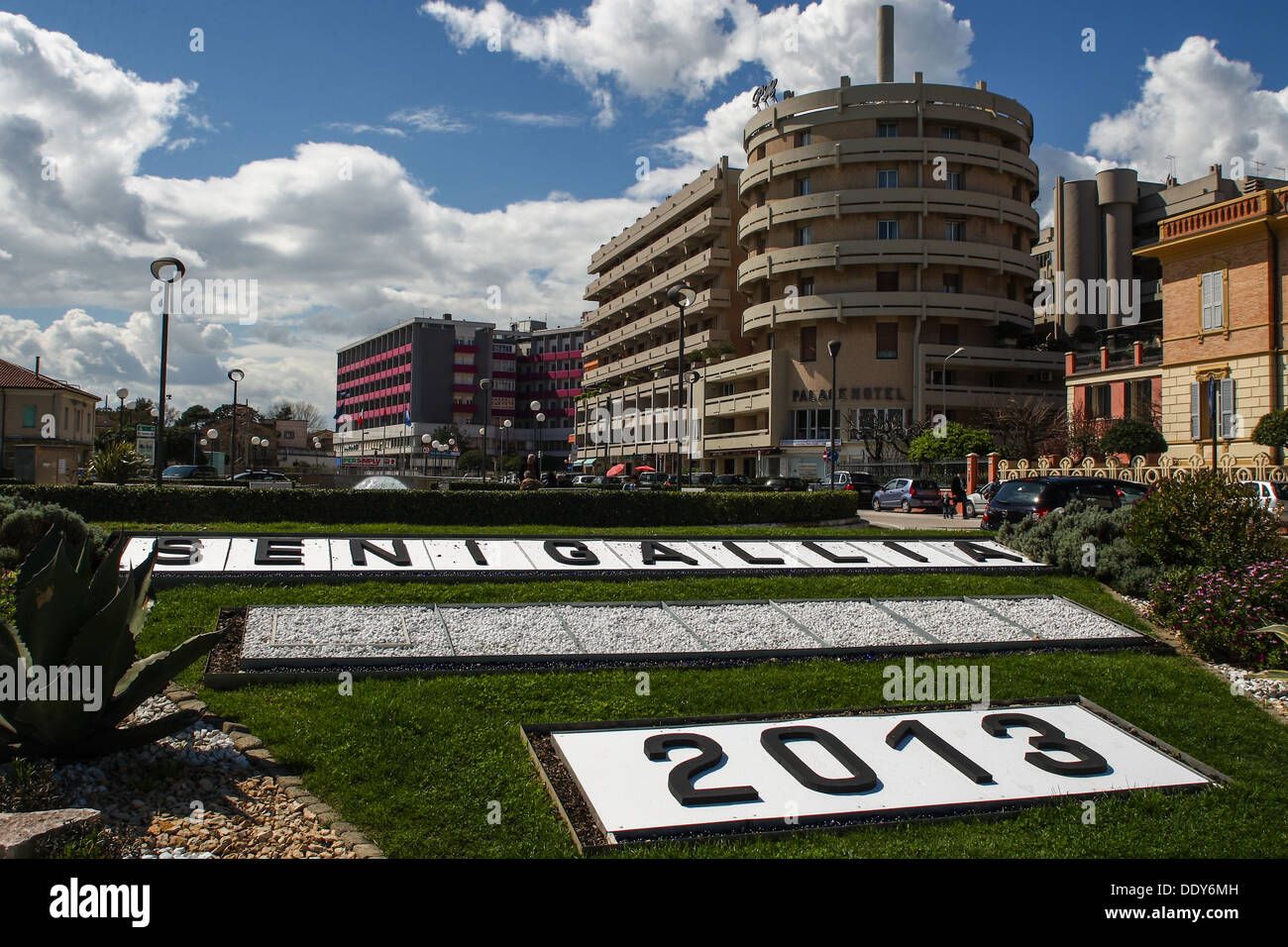 Senigallia (IT) -  Coloured Spring in the City centre with Cloudy Blue sky background and text 'Senigallia 2013'. - Stock Image