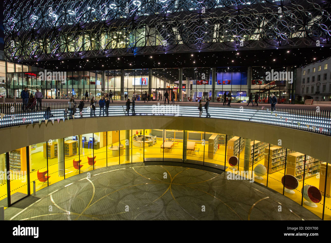 The amphitheatre of the Library Of Birmingham, UK, at night Stock Photo