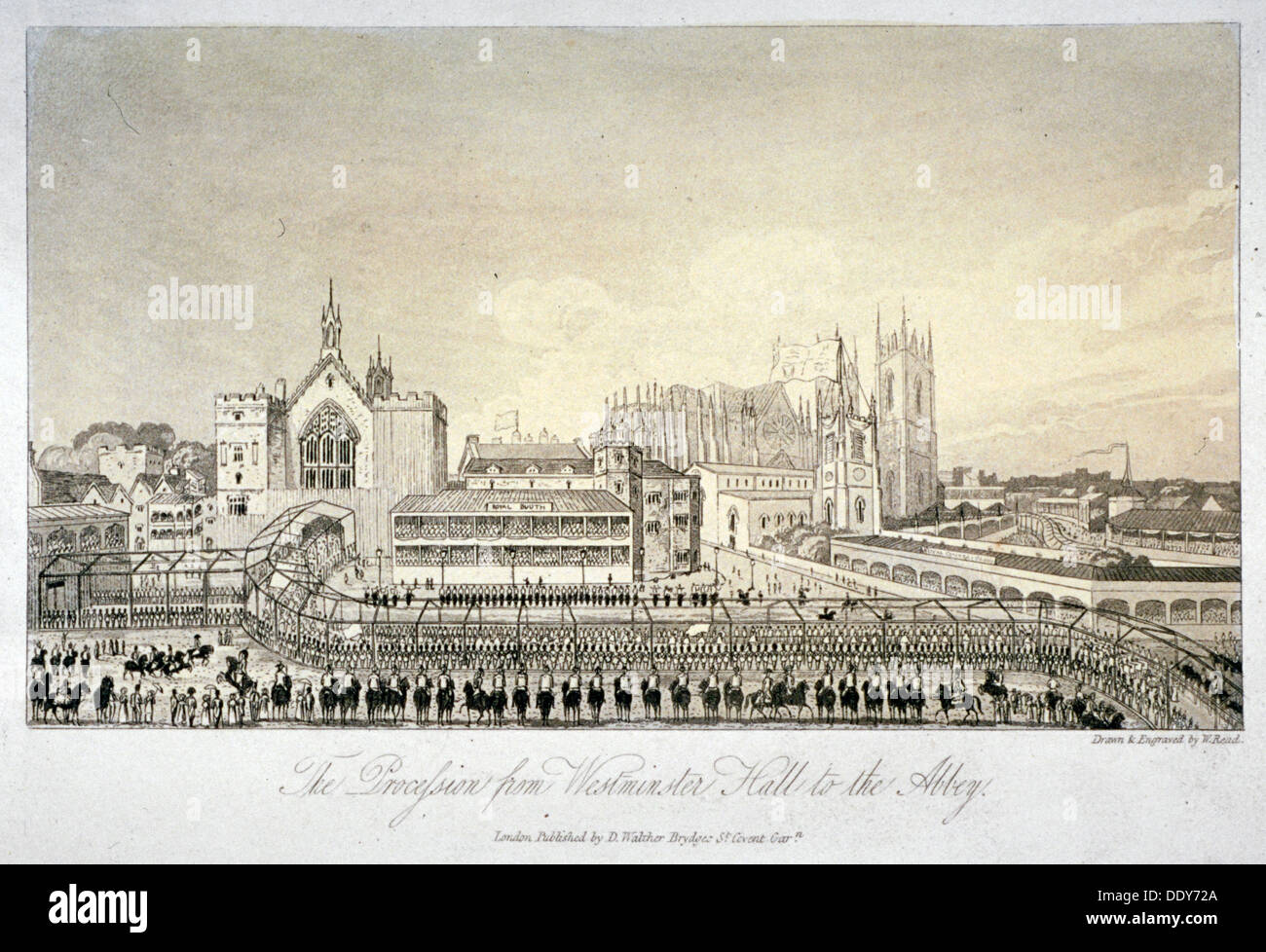 Procession outside Westminster Hall, London, 1821.                                Artist: W Read - Stock Image