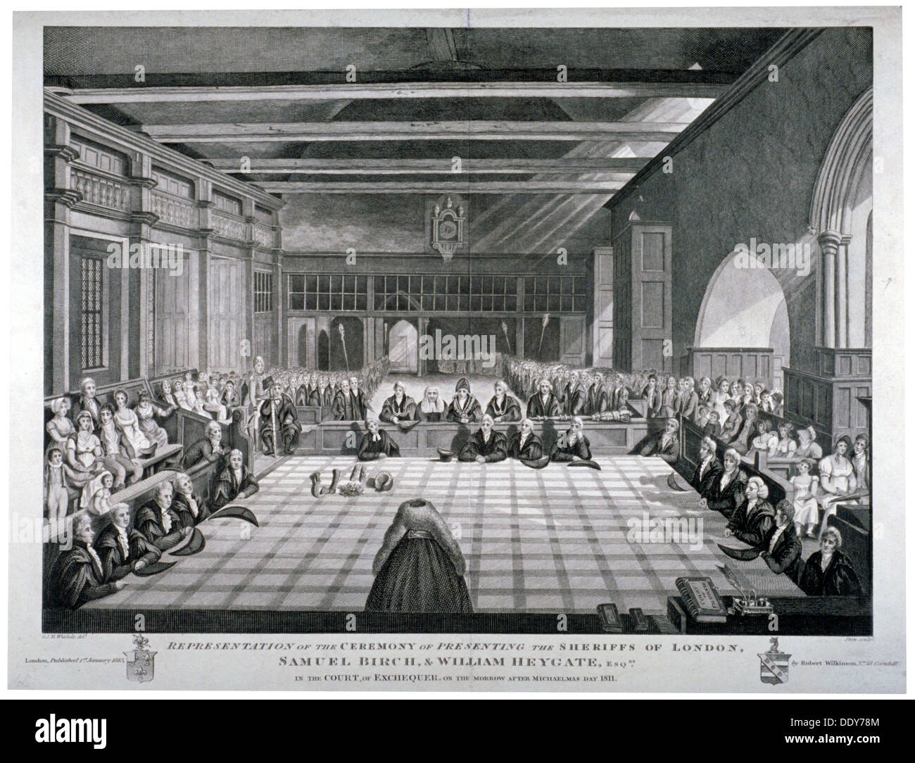 Ceremony in Westminster Hall, London, 1811.                               Artist: James Stow - Stock Image