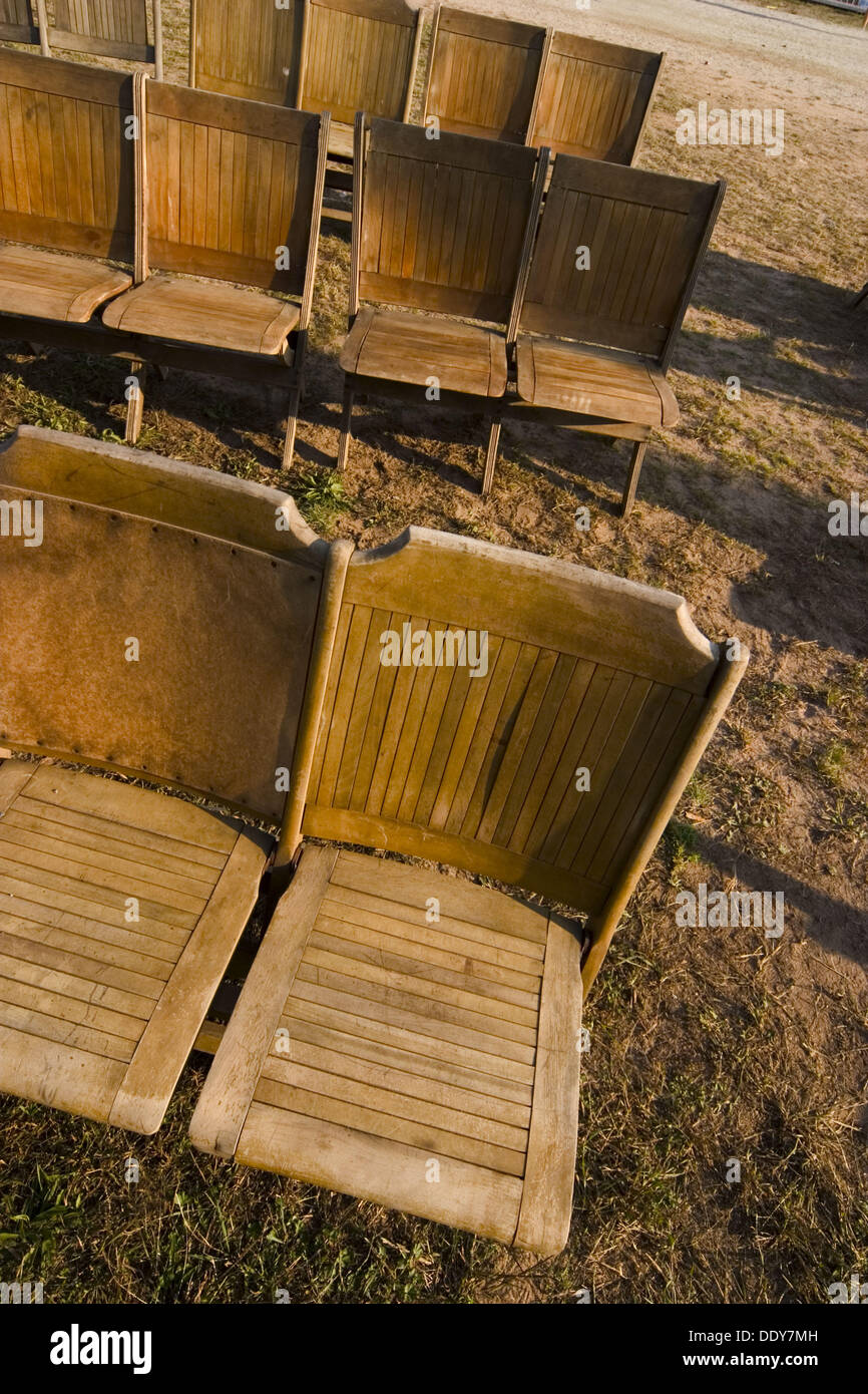 Old Wooden Folding Chairs Setup On The Grass Stock Photo 60220401