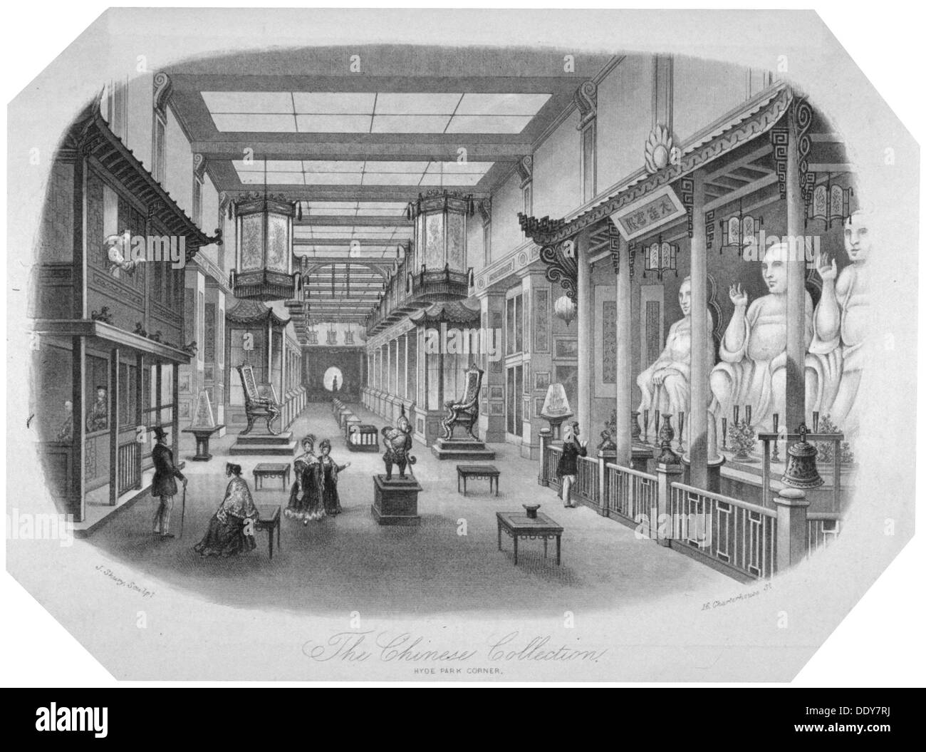 'The Chinese collection, Hyde Park Corner, Westminster, London, c1841.                               Artist: J Shury - Stock Image