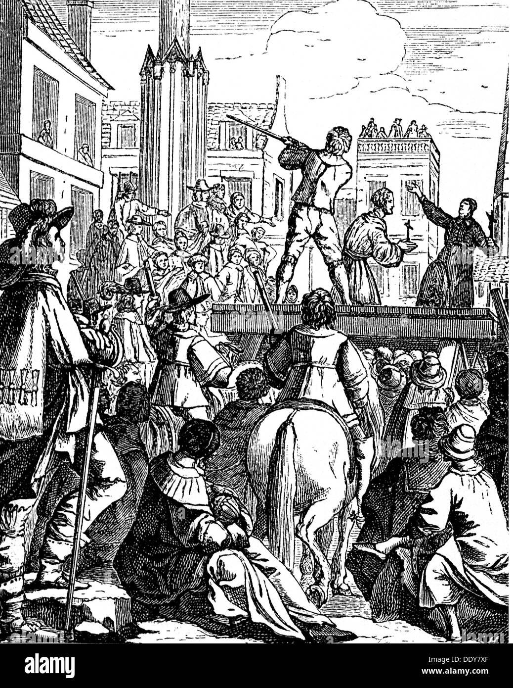 Talleyrand-Périgord, Count of Chalais, Henri de, 1599 - 19.8.1626, French  courtier, death, execution in Nantes, contemporary copper engraving, ...