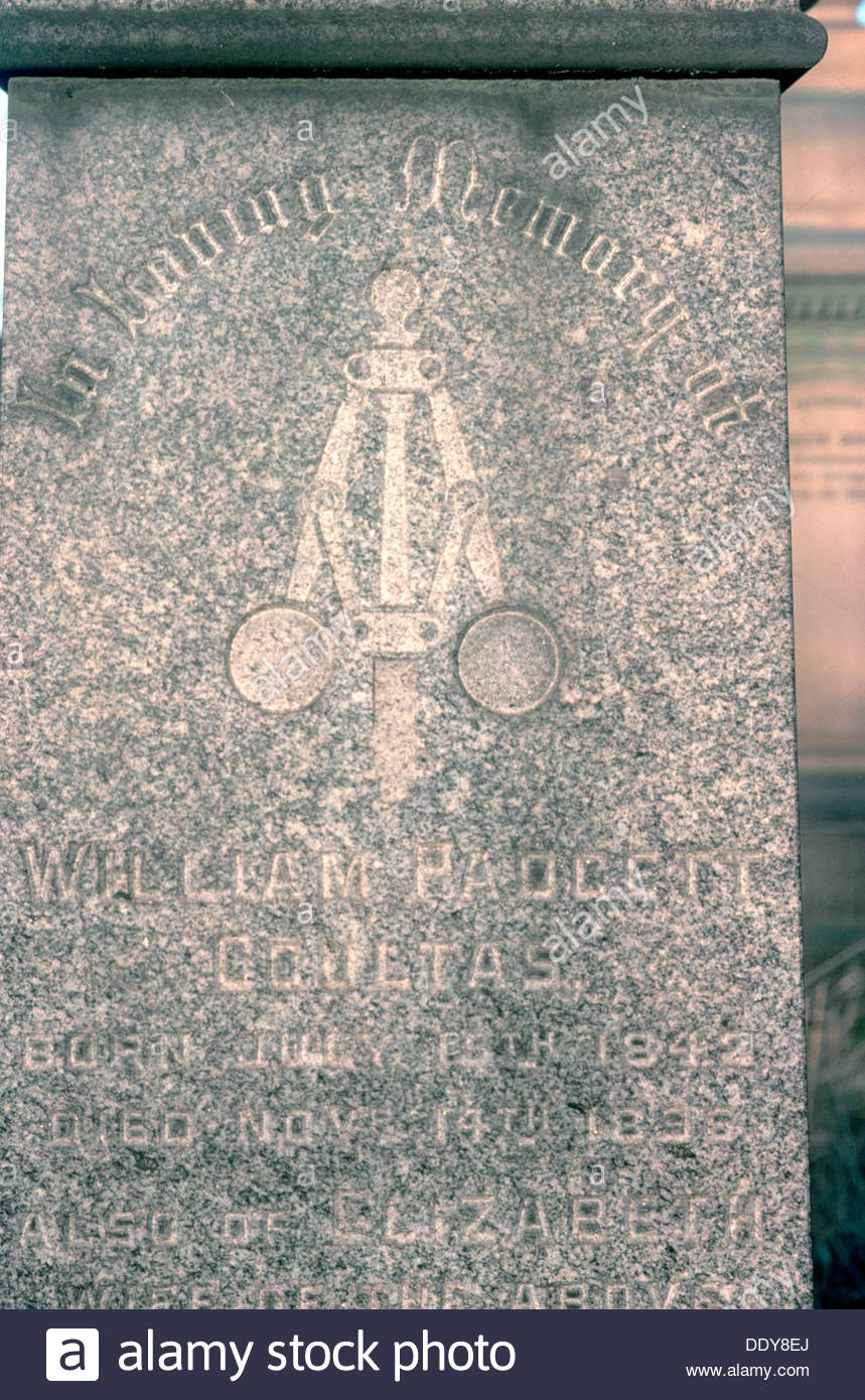 A Watt governor on a gravestone. Artist: Dorothy Burrows - Stock Image