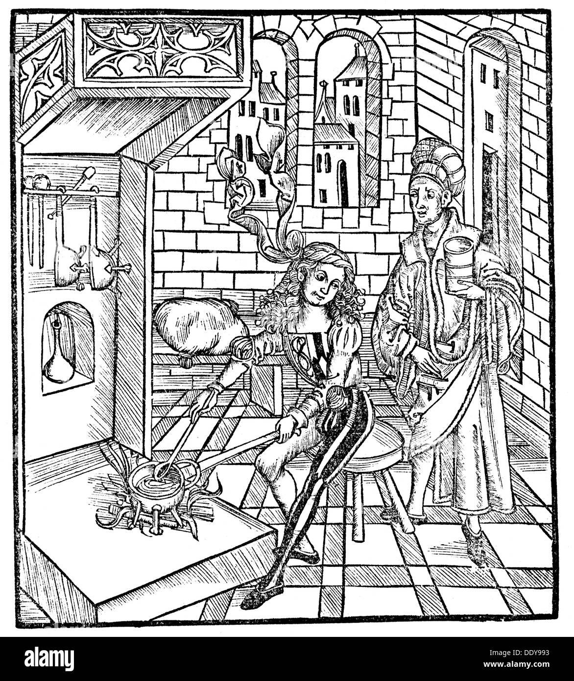 medicine, pharmacy, pharmacy, apothecary and assistant cooking medicine, woodcut, from: Hieronymus Brunschwig (circa Stock Photo