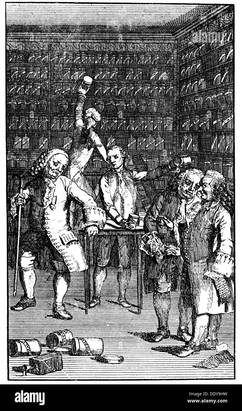 medicine, pharmacy, pharmacy, visitation with destruction of objected medicinal drugs, copper engraving, circa 1760, Artist's Copyright has not to be cleared - Stock Image