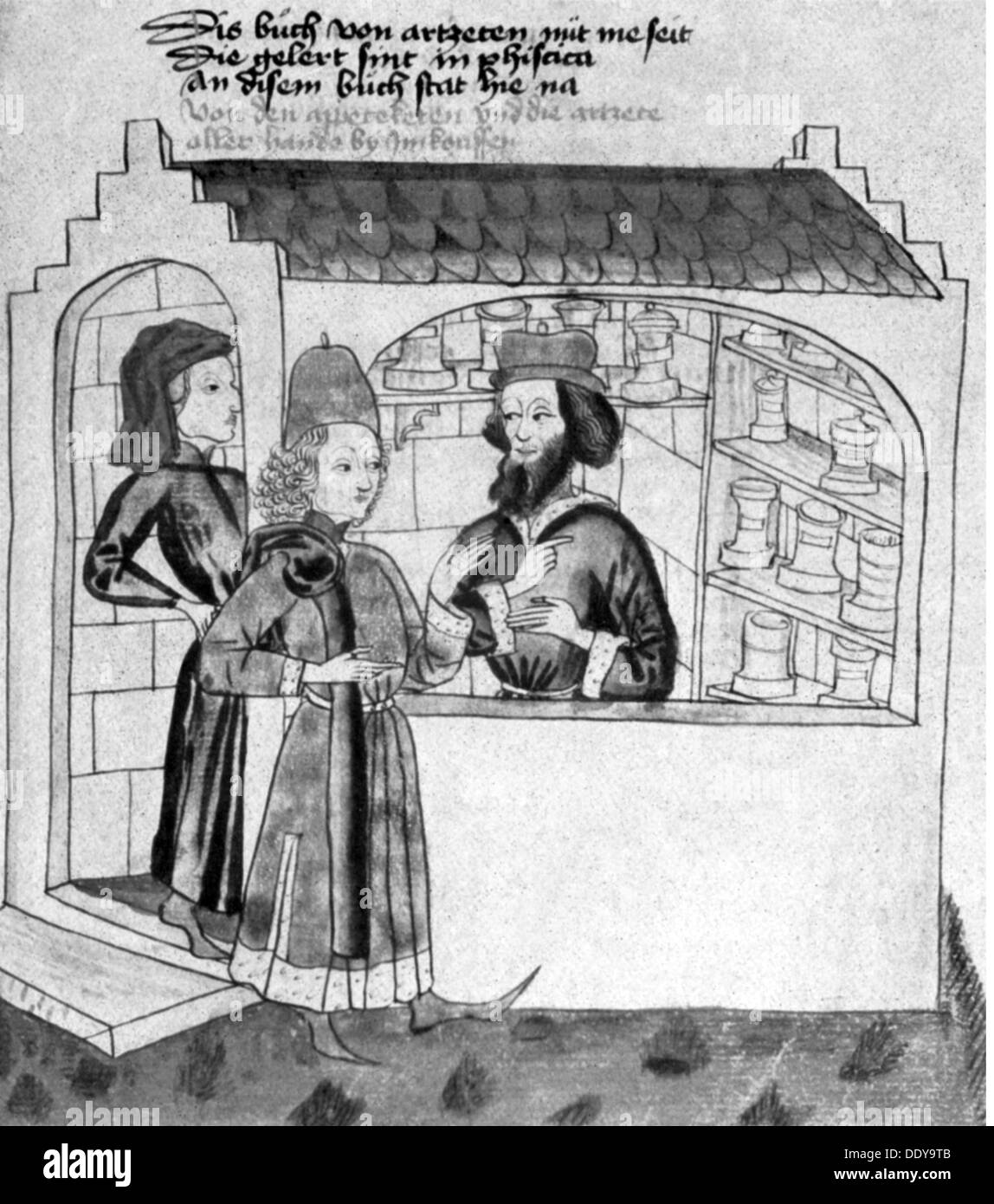 medicine, pharmacy, pharmacy, medieval German pharmacy, after coloured drawing, 14th / 15th century, 14th century, 15th century, Middle Ages, graphic, graphics, occupation, occupations, apothecary, dispensing chemist, druggist, apothecaries, dispensing chemists, druggists, half length, standing, customer, customers, sale, sales, selling, sell, buying, purchase, buy, purchasing, building, buildings, script, scripts, manuscript, handwriting, handwritings, pharmaceutics, pharmacology, pharmacist, pharmacists, medicine, medicines, pharmacy, pharmacies, drugstore, c, Additional-Rights-Clearences-NA - Stock Image