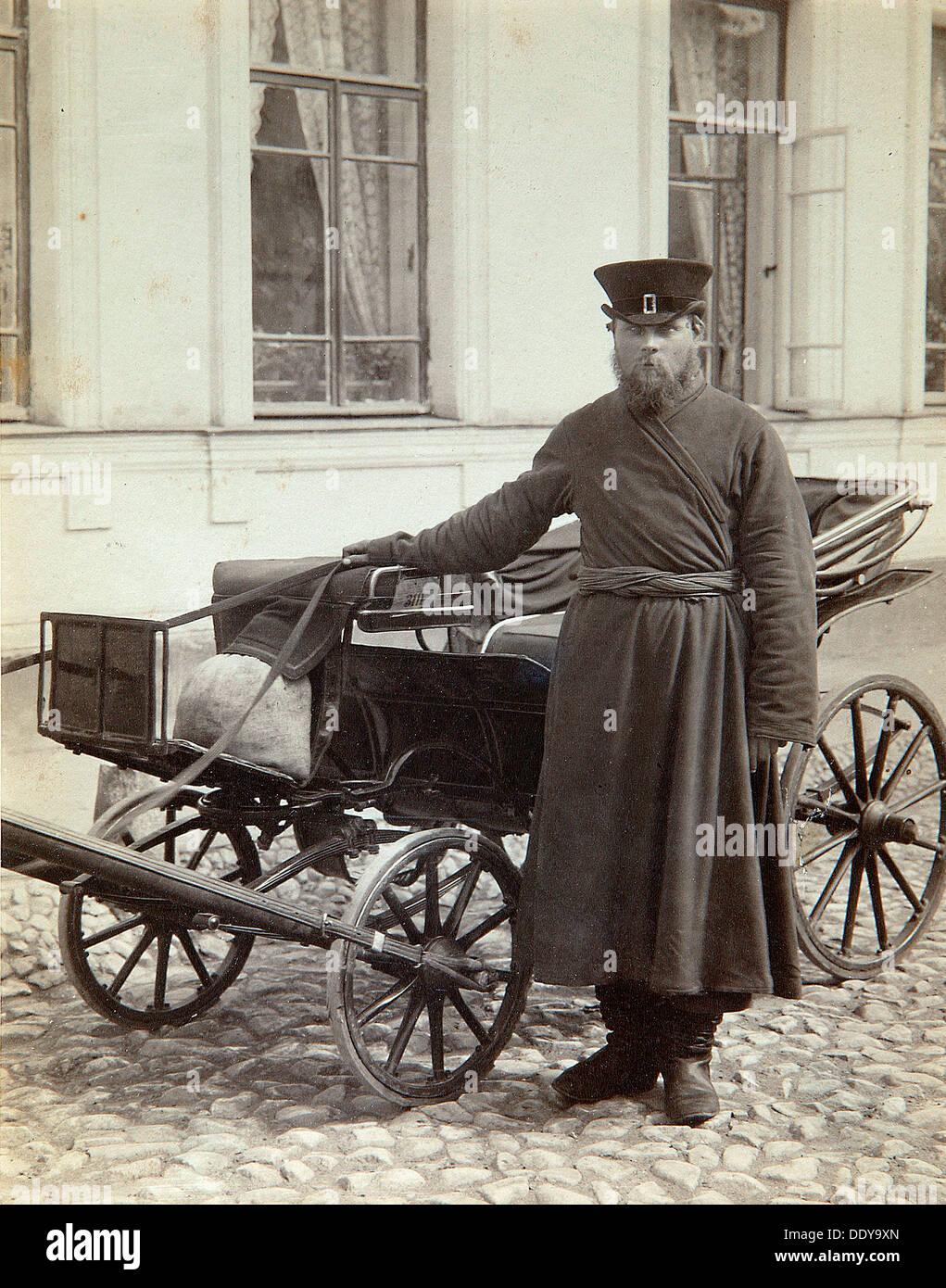 A coachman, 1890s.  Artist: Alexei Sergeevich Mazurin - Stock Image