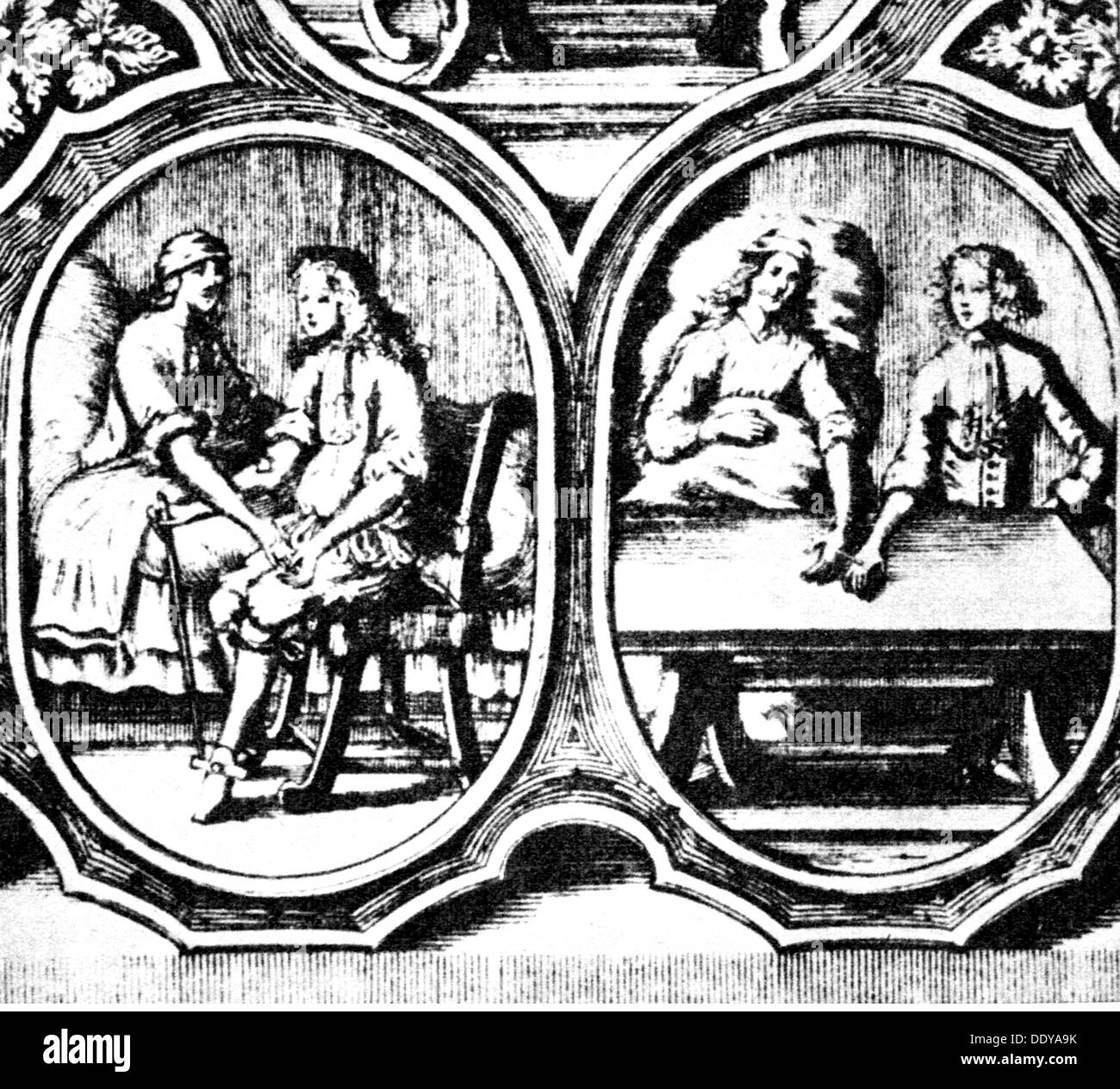 medicine, treatment, transfusion, different possibilities of blood transfusion, after Georg Abraham Mercklin (1644 - 1702), Nuremberg, copper engraving, 17th century, 17th century, graphic, graphics, half length, arm, arms, blood, taking of a blood sample, fasting blood collection, blood transfusion, blood transfusions, transfusion, transfusions, patient, patients, chair, chairs, table, tables, bed, beds, sick-bed, sickbed, sick-beds, sickbeds, sitting, sit, sick person, sick people, medicine, medicines, treatment, treatments, possibility, possibilitie, Artist's Copyright has not to be cleared - Stock Image