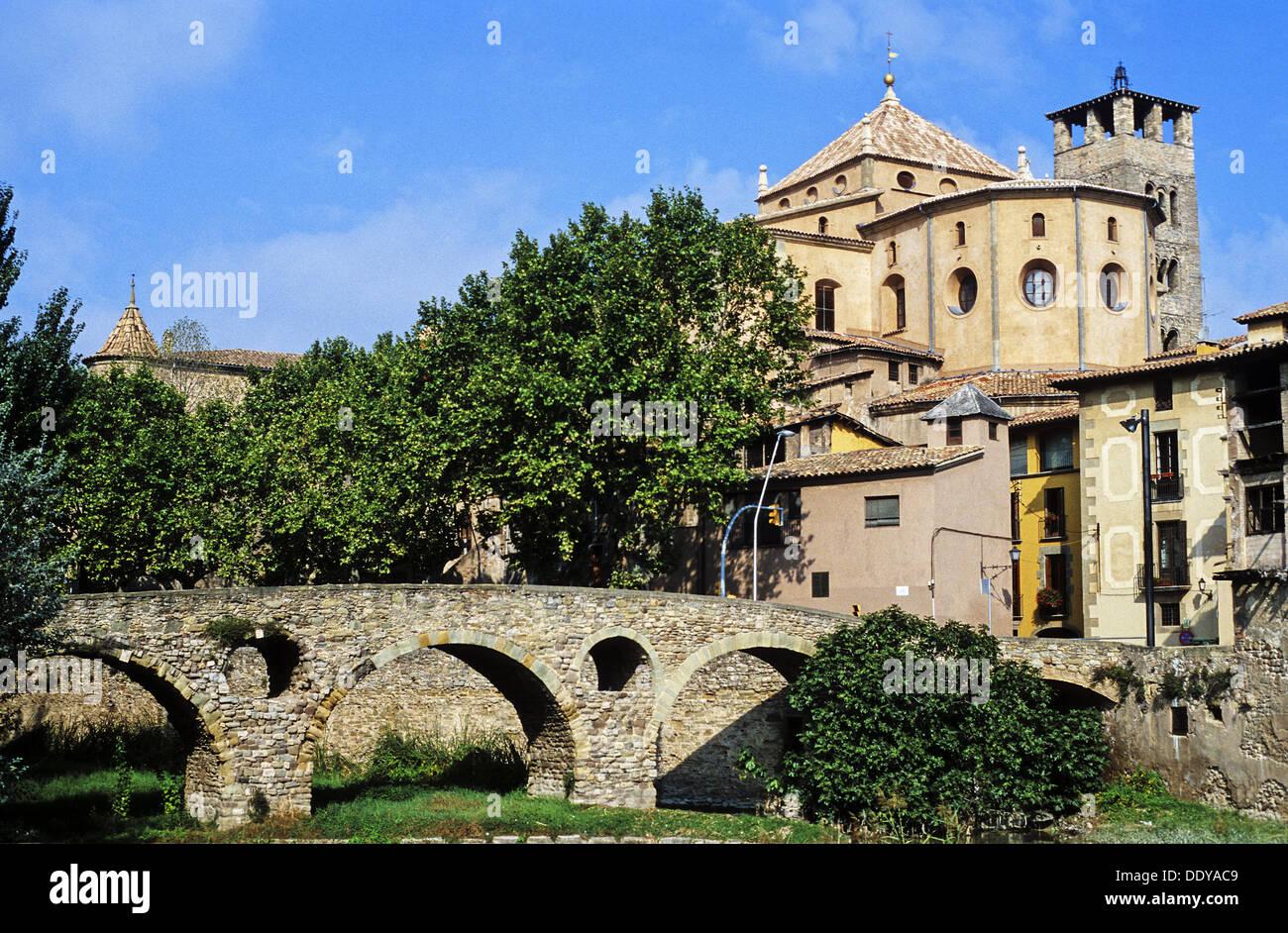 Queralt bridge, bridge, Romanesque, Century XI, Vic Cathedral, Cathedral, Vic, Spain, Catalunya, Catalonia, Barcelona, Osona, - Stock Image