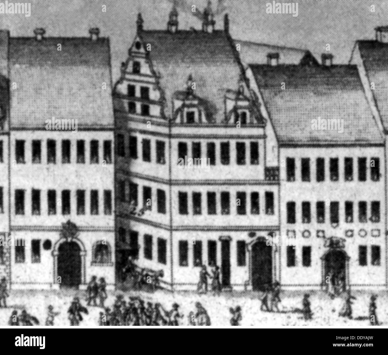 geography / travel, Germany, Wittenberg, building, Cranach Pharmacy, exterior view, copper engraving, 17th century, 17th century, graphic, graphics, facade, facades, pharmacy, pharmacies, drugstore, chemist's shop, drugstores, chemist's shops, drug store, drug stores, salesroom, salesrooms, shops, retail store, retail outlet, retail stores, retail outlets, shop, trade, economy, pharmaceuticals, pharmaceutical products, preparation, compound, pharmaceutical, remedy, remedies, medicine, medicines, pharmaceutics, pharmacology, Saxony, Central Europe, Euro, Artist's Copyright has not to be cleared - Stock Image