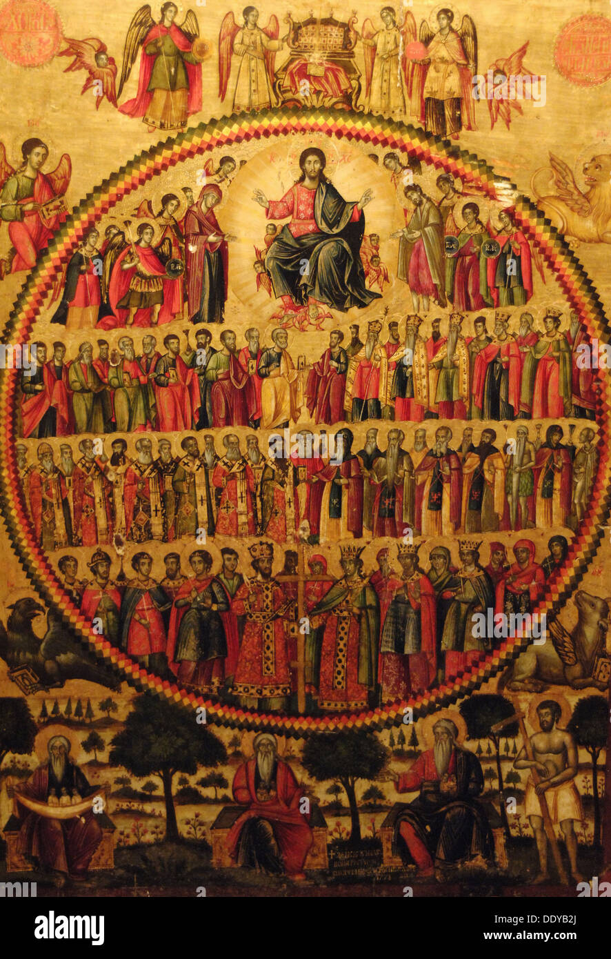All the Saints, 1778, by Zografi brothers. National Museum of Medieval Art. Korce. Republic of Albania. - Stock Image