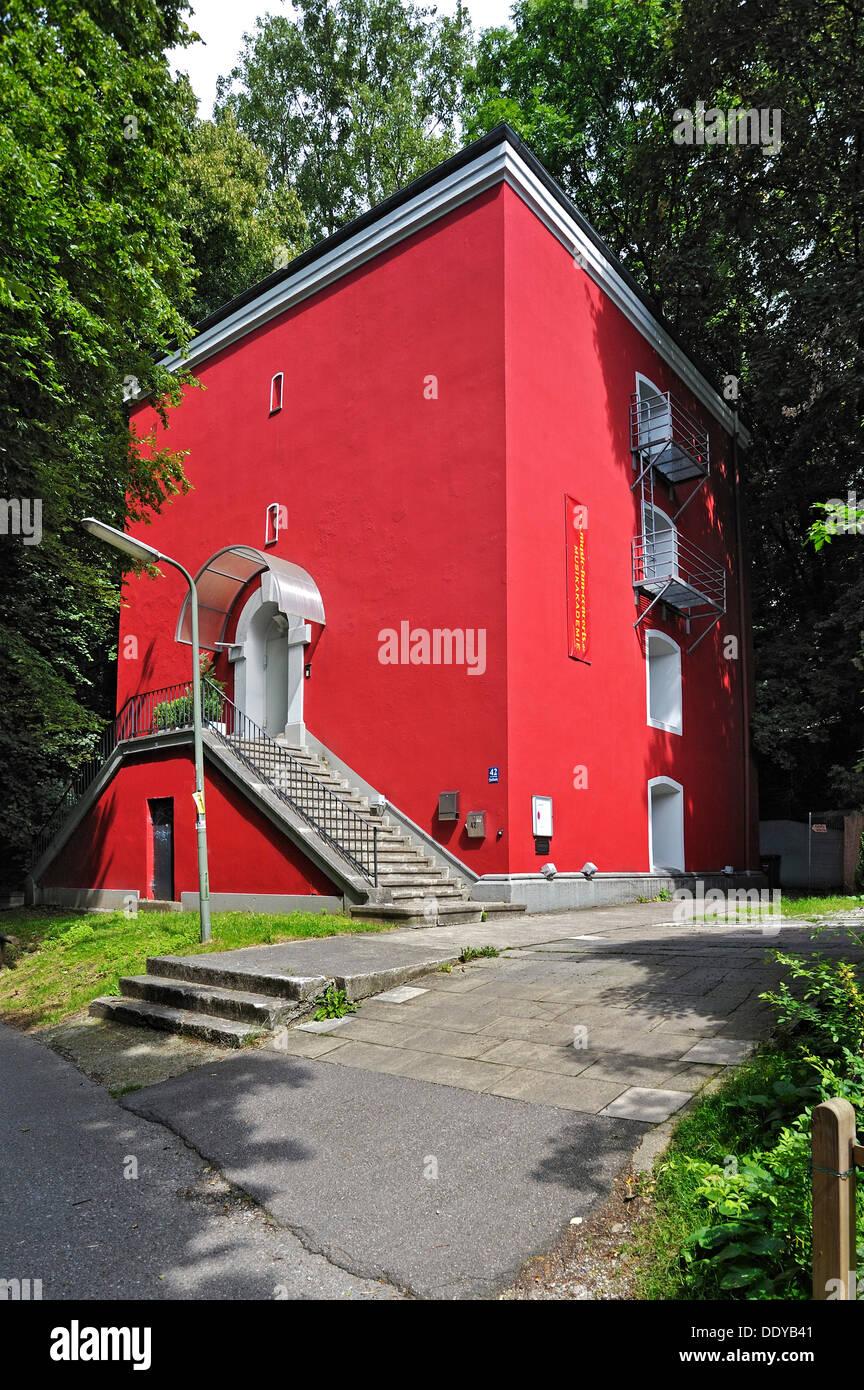 Rotes Haus building, Musikakademie Muenchen academy of music, Quellenstrasse street 42, Munich, Bavaria - Stock Image