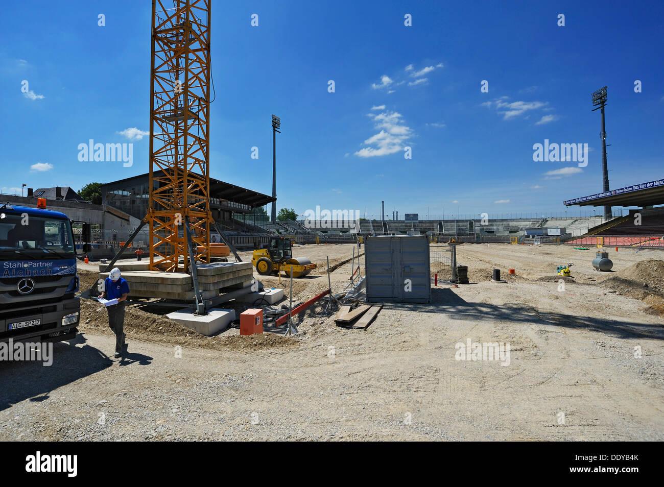 Reconstruction of the Gruenwalder Stadion stadium in Munich, Bavaria - Stock Image