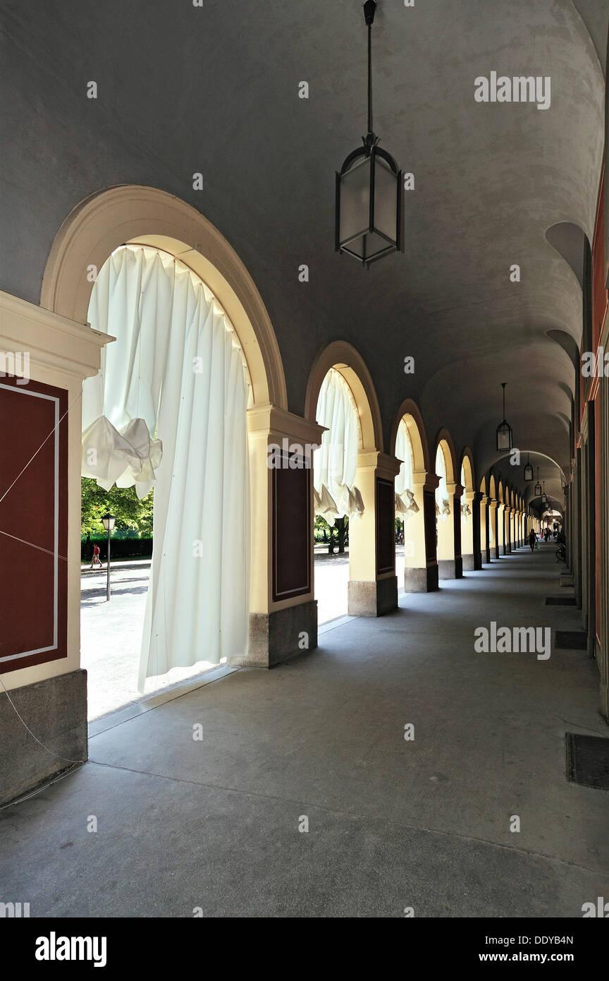 Curtains, replica of an art installation by Ayzit Bostan and Gerhardt Kellermann, Hofgartenarkaden arcades, Hofgarten park - Stock Image