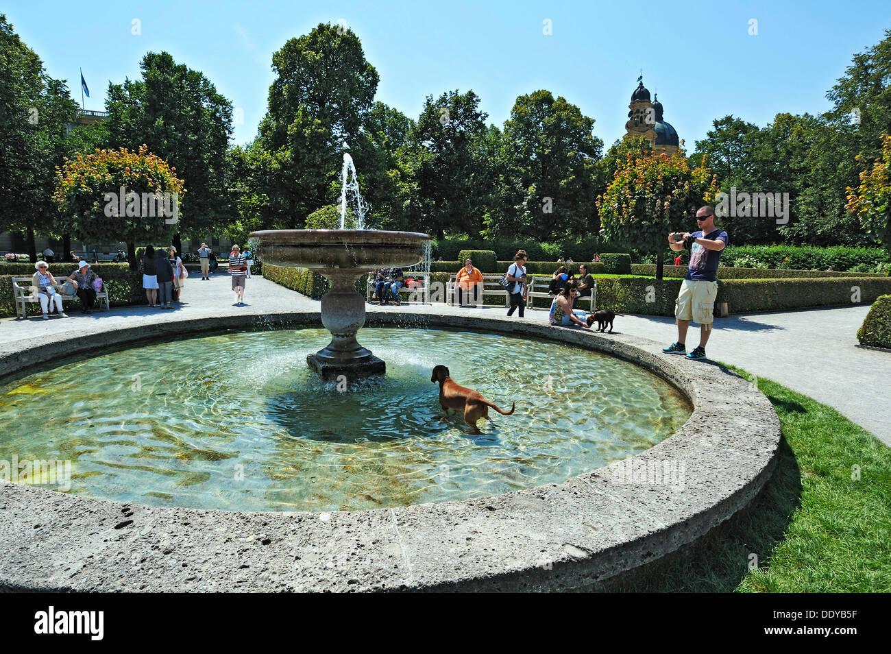 Dog In A Fountain, Hofgarten, Munich, Bavaria