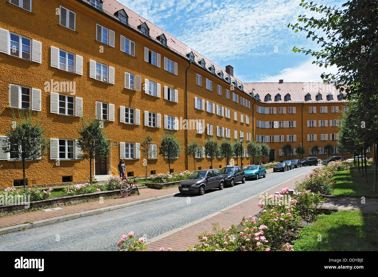 Borstei, a heritage protected residential area in the district of Moosach, Munich, Bavaria - Stock Image