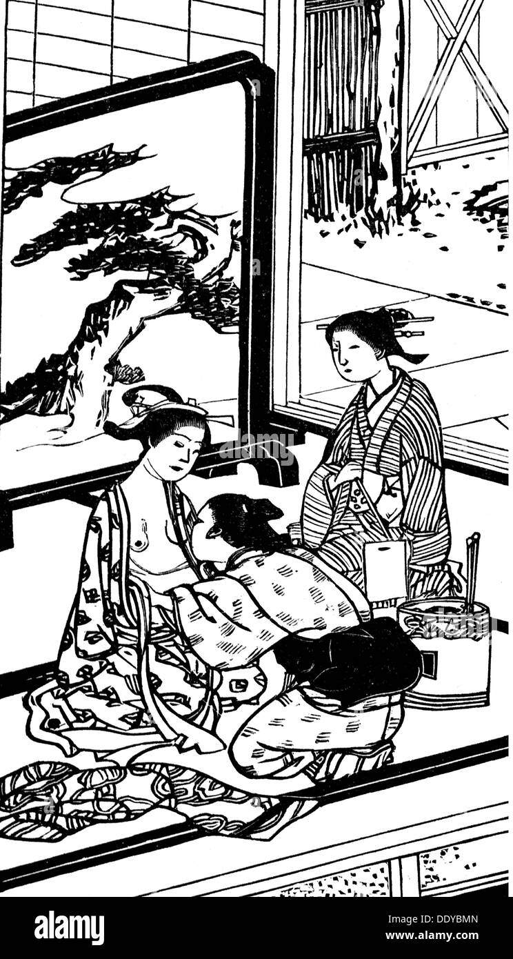 medicine, birth / gynecology, pregnant Japanese woman getting abdominal bandage, after Japanese woodcut, wood engraving, circa 1900, Additional-Rights-Clearences-NA - Stock Image