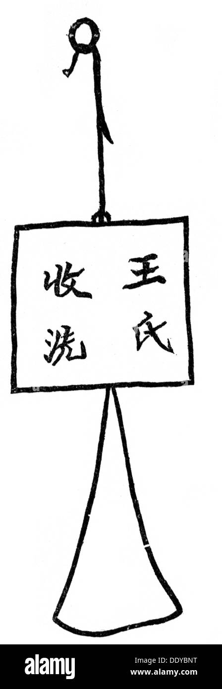 medicine, birth / gynecology, signboard of a midwife in Beijing, Chinese woodcut, ethnological museum, Berlin, drawing, graphic, graphics, Asia, China, sign, signs, script, scripts, character, characters, occupation, occupations, obstetrics, medicine, medicines, birth, births, gynecology, gynaecology, signboard, signboards, midwife, midwives, woodcut, woodcuts, museum, museums, ethnology, ethnicity, ethnic, historic, historical, Additional-Rights-Clearences-NA - Stock Image