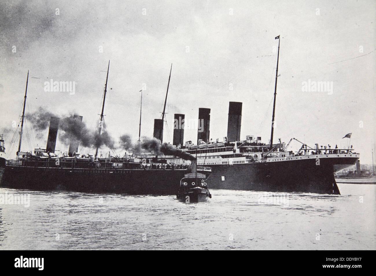 The RMS 'Titanic' leaving Southampton, 10 April 1912. Artist: Unknown - Stock Image