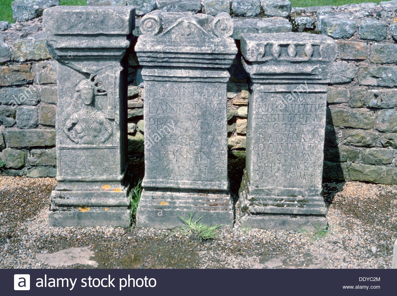 3rd century altars, Temple to Mithras on Hadrian's Wall, Northumberland. Artist: Dorothy Burrows - Stock Image