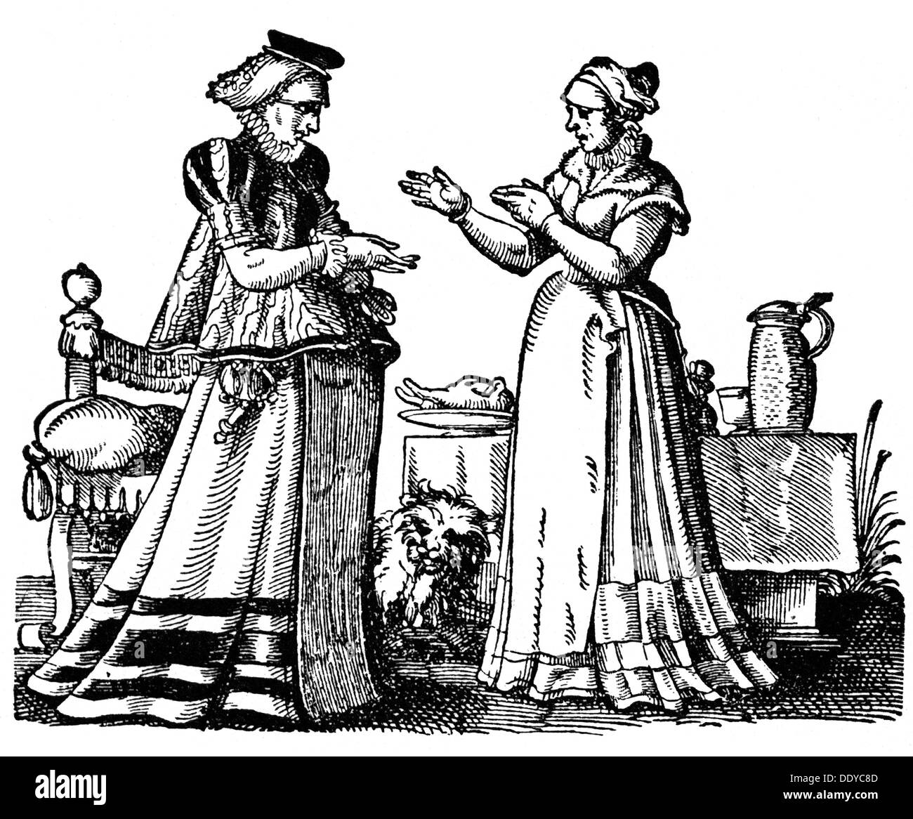 medicine, birth / gynecology, pregnant woman and midwife, woodcut by Jost Amman (1539 - 1591), out of: Albertus Stock Photo