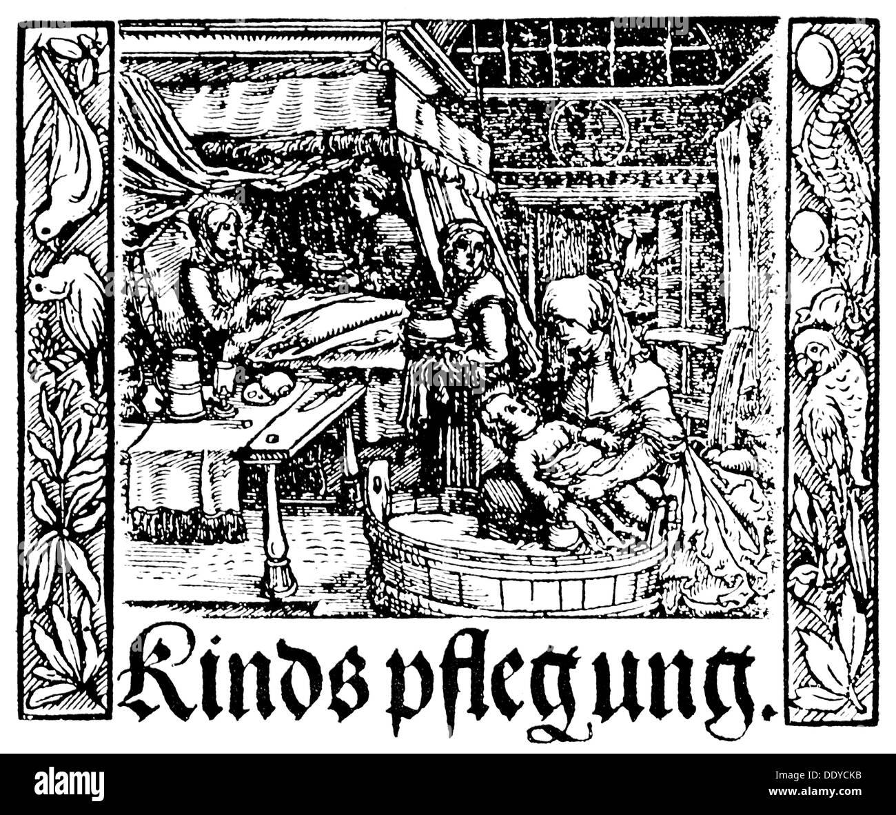 medicine, textbooks, 'Der weyber natuerliche heymlichkeiten und zugehoer', by Albertus Magnus (circa 1200 - 1280), title page, woodcut by Hans Weiditz, publisher: Bartholomäus Mörlinger, 1531, Additional-Rights-Clearences-NA - Stock Image