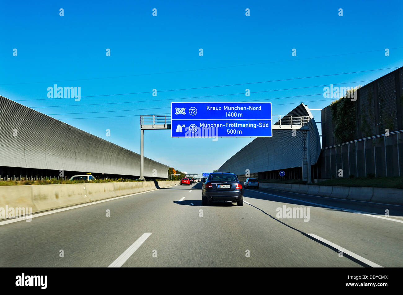 Noise barriers along the motorway near Munich, Bavaria - Stock Image