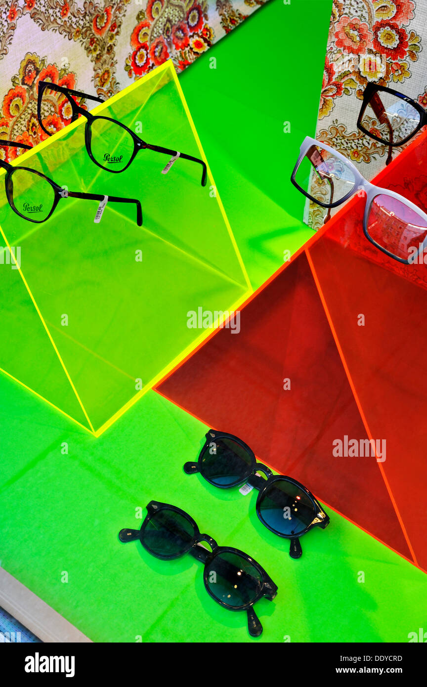 Glasses in the shop window of an optometrist, Munich, Bavaria, PublicGround - Stock Image