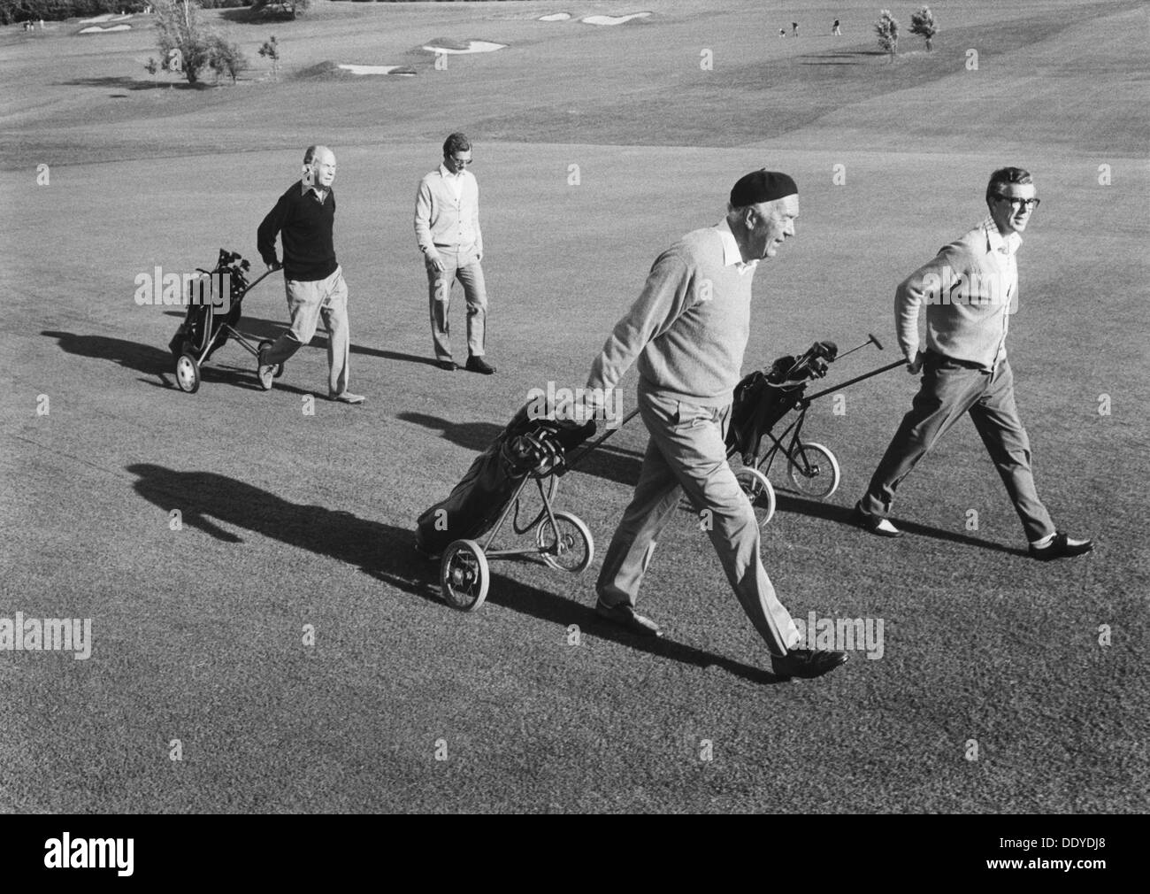 Members of the Swedish Royal Family on the golf course, Båstad, Sweden, 1973. Prince Bertil, Count Carl-Johan Bernadotte and Count Sigvard Bernadotte. Three of the sons of King Gustav VI Adolf of Sweden. - Stock Image